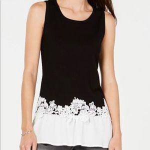 Black and white classy sleeveless top